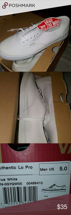 Vans Authentic Lo Pro White Men's 5 Women's 6.5 Low profile version of the classic Vans for those that want the style for everyday wear. Features include Vans Shoes Sneakers