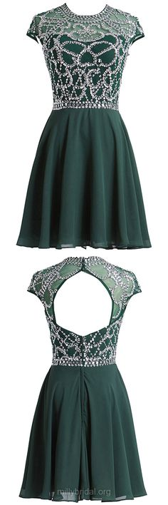 Unique Dark Green Homecoming Dresses,A-line Scoop Neck Chiffon Cocktail Dress,Tulle Short/Mini Party Gowns,Beading Open Back Prom Dresses