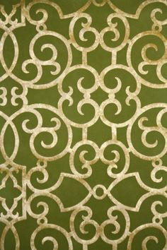 Retro Flock Wallpaper by the Yard Vintage Flock Wallpaper - Metallic Gold and Green Flock Wallpaper Door, Flock Wallpaper, Retro Wallpaper, Pattern Wallpaper, Wallpaper Designs, Geometric Wallpaper, Kyoto, My Home Design, House Design