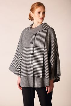 Timeless black and white tones that will never go out of fashion. Made from 100% lambswool. Designed and woven in Ireland #donegaltweed #cape #wool #tweed #irishfashion #wearingirish #blackandwhite #houndstooth Irish Fashion, Wool Cape, Capes For Women, Fit S, One Size Fits All, Houndstooth, Shawls, Fabric Design, Tweed