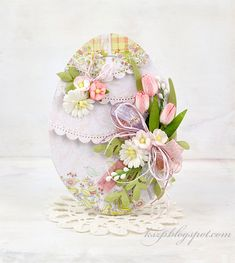 Hello everyone!  I started making Easter cards early this year. These are two egg shaped cards.  I created layered backgrounds and then dec...