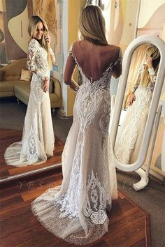Sexy Tulle Lace Long Sleeve Open Back Wedding Dresses Cheap How To Dress For A Wedding, Open Back Wedding Dress, Sexy Wedding Dresses, Wedding Dress Shopping, Lace Dresses, Cheap Wedding Dress, Cheap Dresses, Wedding Gowns, Dress Lace