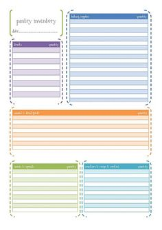 Printables: Pantry and freezer inventories