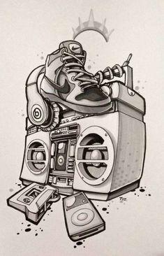 Trendy Tattoo Hip Hop Pictures – Graffiti World Graffiti Art, Graffiti Drawing, Graffiti Lettering, Graffiti Tattoo, Music Graffiti, Hip Hop Tattoo, Arte Do Hip Hop, Hip Hop Art, Tattoo Musik