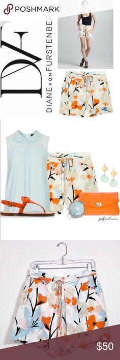 Diane Von Furstenberg Jansen Silk Shorts ✔️100% Silk ✔️Brand New With Tags ✔️Belted ✔️Swedish Meadow Blue ✔️Back Flap Pockets ✔️1732-5 Diane Von Furstenberg Shorts