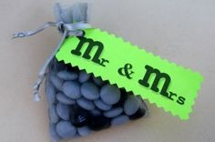 wedding favor - with some changes.  M& M are always a classic to use for any event.They come in a variety of colors so you can mix and match http://prettyweddingidea.com/