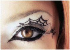 spider web tattoo, eye make up