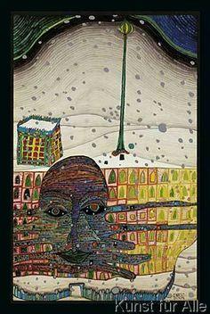 Friedensreich Hundertwasser - Winterbild - Polyp - Wintergeist x cm) Hundertwasser Art, Friedensreich Hundertwasser, Modern Art, Contemporary Art, Cobra Art, Vibrant Colors, Colours, Winter Painting, Aboriginal Art