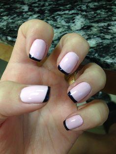 Pink & Navy French manicure #essie #nails