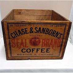 Chase and Sanborn Coffee Advertising Wood Box