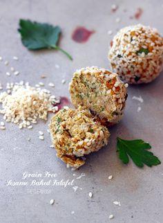 Grain Free Sesame Baked Falafel {gluten free, dairy free}