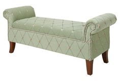 Savannah Roll-Arm Bench, Green (that green for living room).