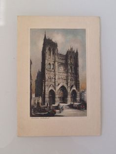 Hand Colored Etching of Amiens Cathedral France by JigsandLarry