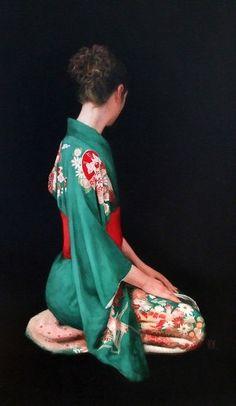 "Saatchi Online Artist: Stephanie Rew (Edinburgh, UK) ""Green Kimono Kneeling"""