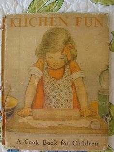 I have this childrens cookbook, mine looks to be in about the same condition. Retro Recipes, Old Recipes, Cookbook Recipes, Vintage Recipes, Kids Cookbook, Vintage Book Covers, Vintage Children's Books, Antique Books, Childrens Baking