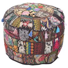 Indian Traditional Black Ottoman Pouf Cover Black Decorative Foot Stool Covers Handmade Cotton Bohemian Pouf Ottomans Round Comfortable Patchwork Floor Cushion by My Crafts Pouf Ottoman, Ottoman Decor, Ottoman Cover, Cushion Covers, Upholstered Ottoman, Pillow Covers, Floor Pouf, Floor Cushions, Embroidery