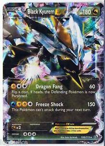 Pokemon Card Legendary Treasures Rare Holo Black Kyurem EX 100/113