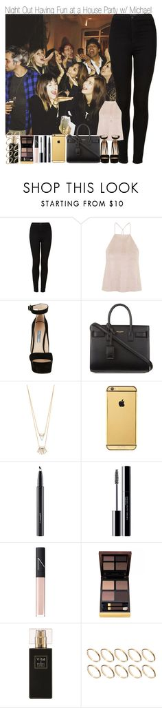 """Night Out Having Fun at a House Party with Michael"" by elise-22 ❤ liked on Polyvore featuring Topshop, Rare London, Prada, Yves Saint Laurent, Alexis Bittar, Goldgenie, MAC Cosmetics, shu uemura, NARS Cosmetics and Tom Ford"