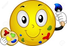 Painter Cartoon Stock Photos And Images Emoji Painting, Smiley Emoticon, Emoticon Faces, Happy Birthday To You, Images Emoji, Emoji Pictures, Funny Emoji Faces, Yellow Smiley Face, Emoji Symbols