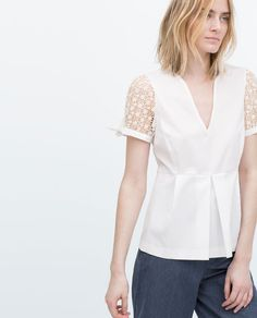 Image 1 of GUIPURE LACE POPLIN PEPLUM TOP from Zara