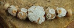 Glass Lampwork Beads White And Beige Flower by carolynsbeads