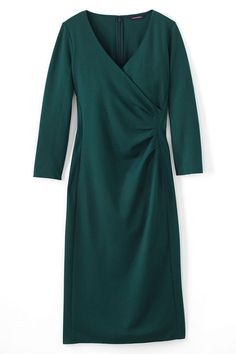 Slip on this super flattering 3/4 Sleeve Ponte Surplice Dress for your favorite holiday party or wear to work elegance.