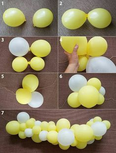 How to Make Balloon Garland-Popular Balloon Decorations Using Balloons - - How to Make Balloon Garland-Popular Balloon Decorations Using Balloons Party Decorations Wie man Ballongirlanden-beliebte Ballondekorationen mit Luftballons macht Diy Birthday Decorations, Baby Shower Decorations, Balloon Decorations Without Helium, Balloon Decoration For Birthday, Diy Event Decorations, Baby Shower Balloon Ideas, Yellow Party Decorations, Happy Birthday Balloons, Balloon Centerpieces
