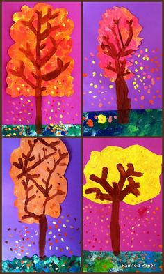 Painted paper trees (Painted Paper in the Art Room)
