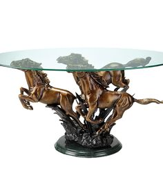 Powerful galloping aluminum steeds support a gleaming glass top in the elegant design of the San Pacific International Galloping Horse Trio Coffee Table. The rustic sculptural table is kept stable by a sturdy green marble base. Equestrian Decor, Western Decor, Equestrian Style, Western Furniture, Furniture Decor, Cabin Furniture, Rustic Furniture, Furniture Design, Black Forest Decor