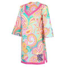 Monogrammed Beach Coverup Tunic Summer Paisley - The Palm Gifts