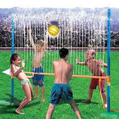 "Play water volleyball  Attach your hose to the Aqua Blast Volleyball set ($20; hearthsong.com)―it sprays streams of water straight up, creating a ""net"" for a wet volleyball game. Kids as young as 3 years old can play."