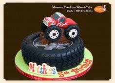 Monster Truck On Wheel Cake