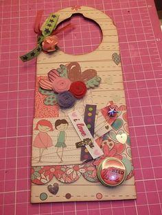 Door hanger Craft Letters, Letter A Crafts, Doorknob Hangers, Door Hangers, Door Knobs Crafts, Bedroom Doors, Punch Art, Chipboard, Paper Piecing