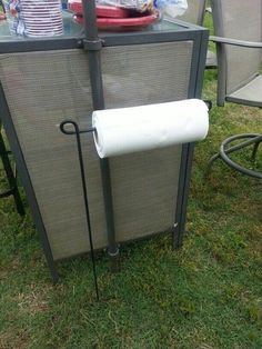 Use a Flag Holder to hold your Paper Towels while Camping...these are the BEST Camping Ideas, Gear, Tips, & Tricks!