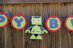 Items similar to Robot Birthday Banner on Etsy 4th Birthday Parties, Birthday Fun, Birthday Ideas, Robot Theme, Transformer Birthday, Akira, Party Time, Banners, First Birthdays