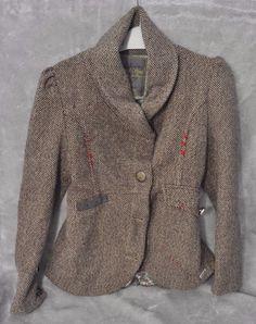 JOE BROWNS Wool Tweed Jacket SACRED SPIRIT Designer Buttons Red Stitch UK Size 8 #JoeBrowns #ChicBoho #Formal