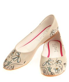 Nude & blue daisy printed flats  Sale - GOBY Sale