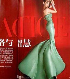 a green zac posen mermaid gown