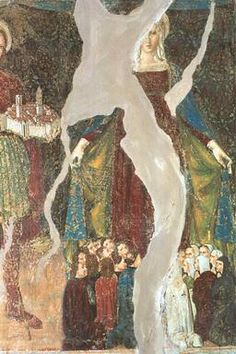 Maestro di Arnano, San Venanzio con il modellino della città di Camerino e Madonna della Misericordia e part.- affresco, Camerino frazione Mecciano, chiesa di San Giovanni Battista 1488