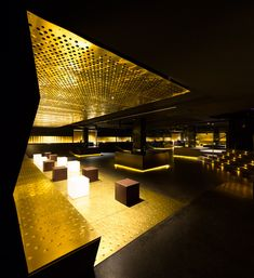 Brass, black steel and glittering lights line this other-worldly nightclub in Pamplona, Spain. The Canalla Disco might as well be serving up drinks on Pub Interior, Restaurant Interior Design, Pub Design, Retail Design, Contemporary Architecture, Interior Architecture, Lounge Bar, Nightclub Design, Club Lighting