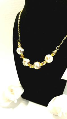 Gold beaded necklace by SnoBirdBeads on Etsy