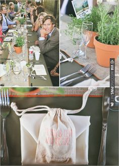 earthy table decor and cute favor bags | VIA #WEDDINGPINS.NET
