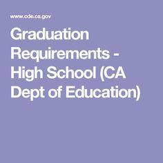 Graduation Requirements - High School (CA Dept of Education)
