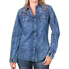 Cowgirl Up Women's Embroidered Aztec Long Sleeve Western Shirt