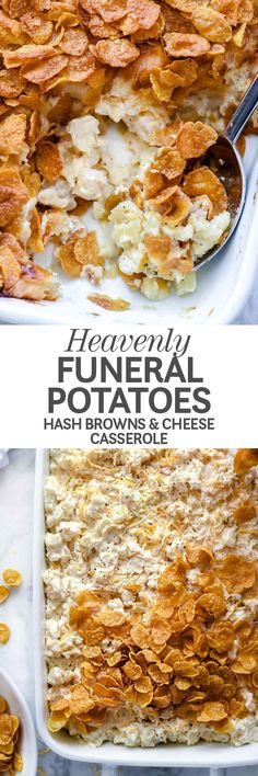 Funeral potatoes made with frozen hash browns and cheese are an easy-to-make and even easier-to-love comfort food casserole that is totally heaven sent. | foodiecrush.com #recipes #casserole #potatoes #hashbrowns #cheese