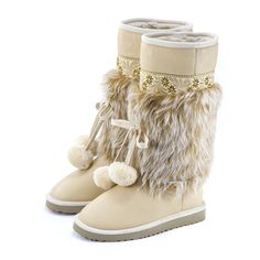 Cozy Pompons Trim Snow Boots from clothing.net