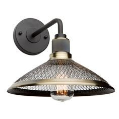 Off Wellington Vintage Brass One Light Wall Sconce by Artcraft. @ The Wellington collection features matte black frames with vintage brass mesh shades. Indoor Wall Sconces, Candle Wall Sconces, Outdoor Wall Sconce, Wall Sconce Lighting, Bedside Lighting, Bathroom Sconces, Bathrooms, Bauhaus, Multi Luminaire