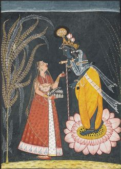 Radha offers pan to Krishna.  Indian, Pahari about 1725.   Object Place: Bahu-Jammu area, Punjab Hills, Northern India.