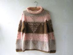 Italian chunky knit sweater. geometric by dirtybirdiesvintage, $84.00