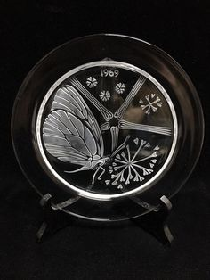 Lalique France Crystal Plate Papillon Butterfly 1969 Mint w/ Box